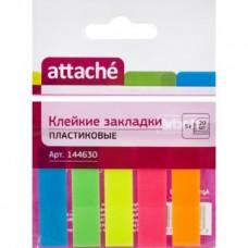 Закладки  Attache 12мм х45 5 цветов по 20 листов пластик